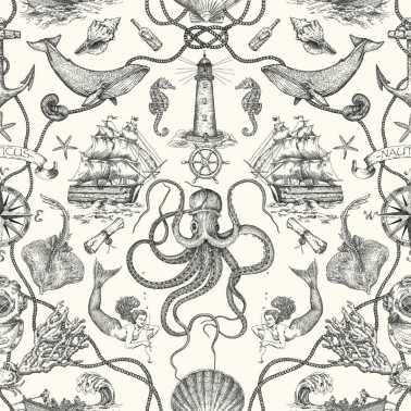 Papel Pintado con estilo Vintage modelo Deep Sea Toile de la marca York Wallcoverings